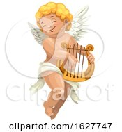 Valentines Day Cupid Plying A Lyre