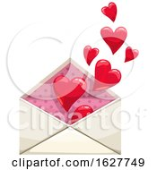 Valentines Day Envelope With Hearts