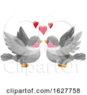 Valentines Day Bird Couple With Hearts