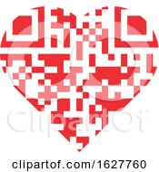 Poster, Art Print Of Red Valentine Heart With A Qr Code