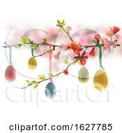 Suspended Colorful Easter Eggs On A Spring Branch