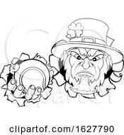 Leprechaun Tennis Mascot Ripping Background