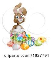 Poster, Art Print Of Easter Bunny Rabbit Eggs Hunt Basket Cartoon
