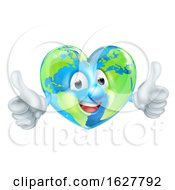 Poster, Art Print Of Cartoon Heart World Earth Day Globe Character