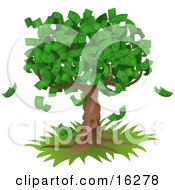 Poster, Art Print Of Tree Growing An Abundant Amount Of Dollar Bills Symbolising Environmental Expenses Trust Funds Riches Etc