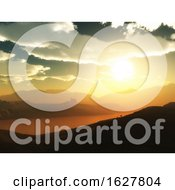 3D Rocky Landscape Against A Sunset Sky