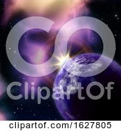 Poster, Art Print Of 3d Space Background With Sun Rising Behind Fictional Planet