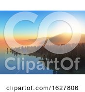 Poster, Art Print Of 3d Landscape Of Trees Against A Sunset Sky