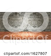3D Grunge Interior With Brick Wall And Wood Floor
