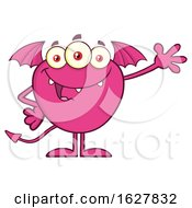 Poster, Art Print Of Cartoon Pink Bat Winged Monster Waving