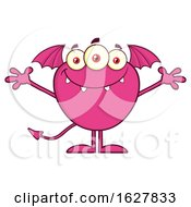 Poster, Art Print Of Cartoon Pink Bat Winged Monster Welcoming