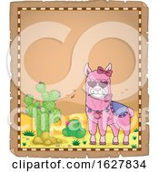 Parchment Border With A Pink Valentine Llama by visekart