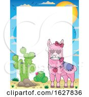 Poster, Art Print Of Border With A Pink Valentine Llama