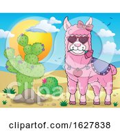 Pink Valentine Llama By A Cactus by visekart
