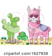 Poster, Art Print Of Pink Valentine Llama By A Cactus