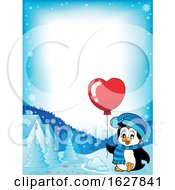 Poster, Art Print Of Border Of A Valentines Day Penguin With A Heart Balloon