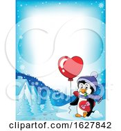 Border Of A Valentines Day Penguin With A Heart Balloon