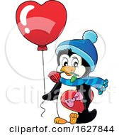 Poster, Art Print Of Valentines Day Penguin With A Heart Balloon