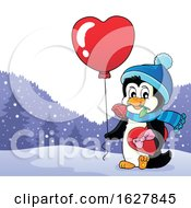 Valentines Day Penguin With A Heart Balloon