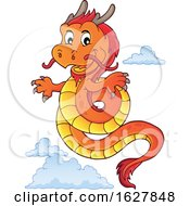 Red Orange And Yellow Chinese Dragon And Clouds