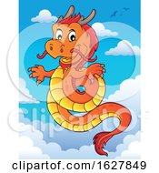 Red Orange And Yellow Chinese Dragon In The Sky