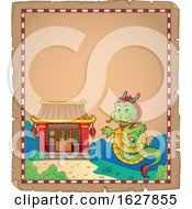 Parchment Border Of A Chinese Dragon By A Temple