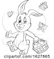 Poster, Art Print Of Black And White Easter Bunny Carrying A Basket Of Eggs