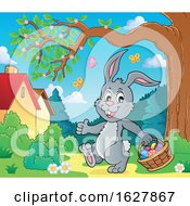 Poster, Art Print Of Easter Bunny Carrying A Basket Of Eggs