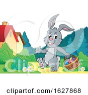 Easter Bunny Carrying A Basket Of Eggs