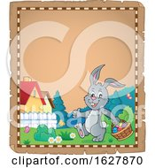 Poster, Art Print Of Parchment Border Of An Easter Bunny Carrying A Basket Of Eggs