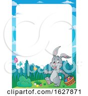 Poster, Art Print Of Border Of An Easter Bunny Carrying A Basket Of Eggs