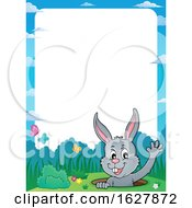 Poster, Art Print Of Border Of An Easter Bunny Waving From A Hole