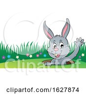 Easter Bunny Waving From A Hole
