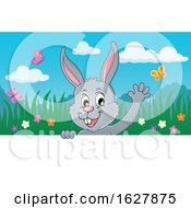 Poster, Art Print Of Easter Bunny Waving Over A Sign