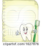 Tooth Mascot Holding A Brush Over Ruled Paper