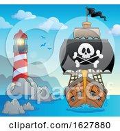 Pirate Ship Near A Lighthouse