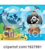 Pirate Ship Near A Treasure Island
