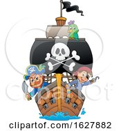 Pirates On A Ship With A Big Jolly Roger