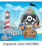Pirates On A Ship Near A Lighthouse