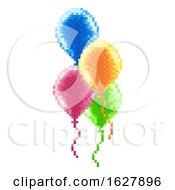 Pixel Art 8 Bit Arcade Video Game Balloons