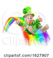 Leprechaun And Rainbow 8 Bit Arcade Game Pixel Art