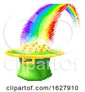 Poster, Art Print Of Leprechaun Hat Rainbow 8 Bit Pixel Art Icon