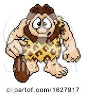 Poster, Art Print Of Caveman In Pixel Art 8 Bit Arcade Video Game Style