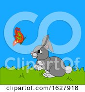 Poster, Art Print Of Hand Drawn Rabbit And Butterfly