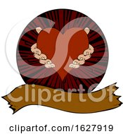 Hands Holding A Heart In A Circle Over A Banner