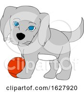 Cute Puppy Dog Playing With A Ball