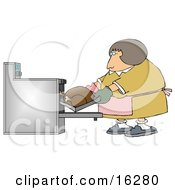 Clipart Illustration Image Of A Middleaged Caucasian Woman Wearing Mis Matched Oven Mits And Putting A Turkey In The Oven While Cooking For Thanksgiving Or Christmas Dinner