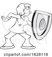 Cartoon Grayscale Woman On Guard And Protecting With A Shield