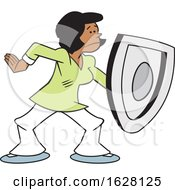 Cartoon Black Woman On Guard And Protecting With A Shield
