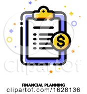 Icon Of Clipboard With Golden Dollar Coin For Financial Planning Concept Flat Filled Outline Style Pixel Perfect 64x64 Editable Stroke
